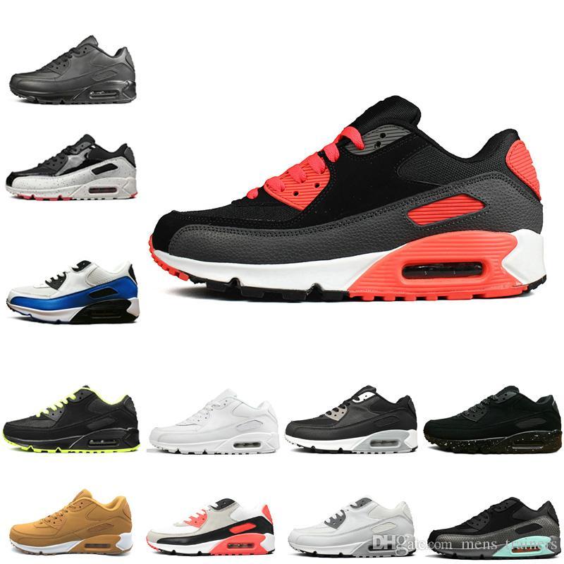 sports shoes 5e736 12e06 Acheter Nike Air Max 90 Top Mode Hommes Noir Blanc Rose Jaune 90 Baskets De  Course Vente Chaude Luxe Des Années 90 Femmes Sneakers Jogging Chaussures  ...