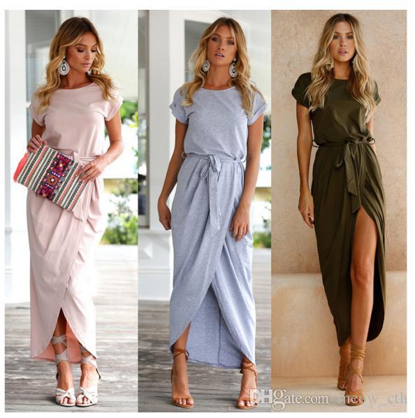 2018 Nuove donne sexy di modo O-Collo Abiti manica corta Tunica Summer Beach Sun Casual Femme Abiti Lady Abbigliamento Dress