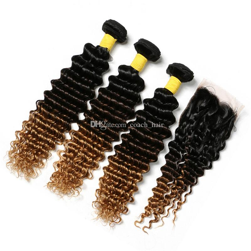 Dark Roots Brown Honey Blonde Ombre Hair Bundles with Lace Closure 1B/4/27 Deep Wave Curly Ombre Hair Weaves with Closure