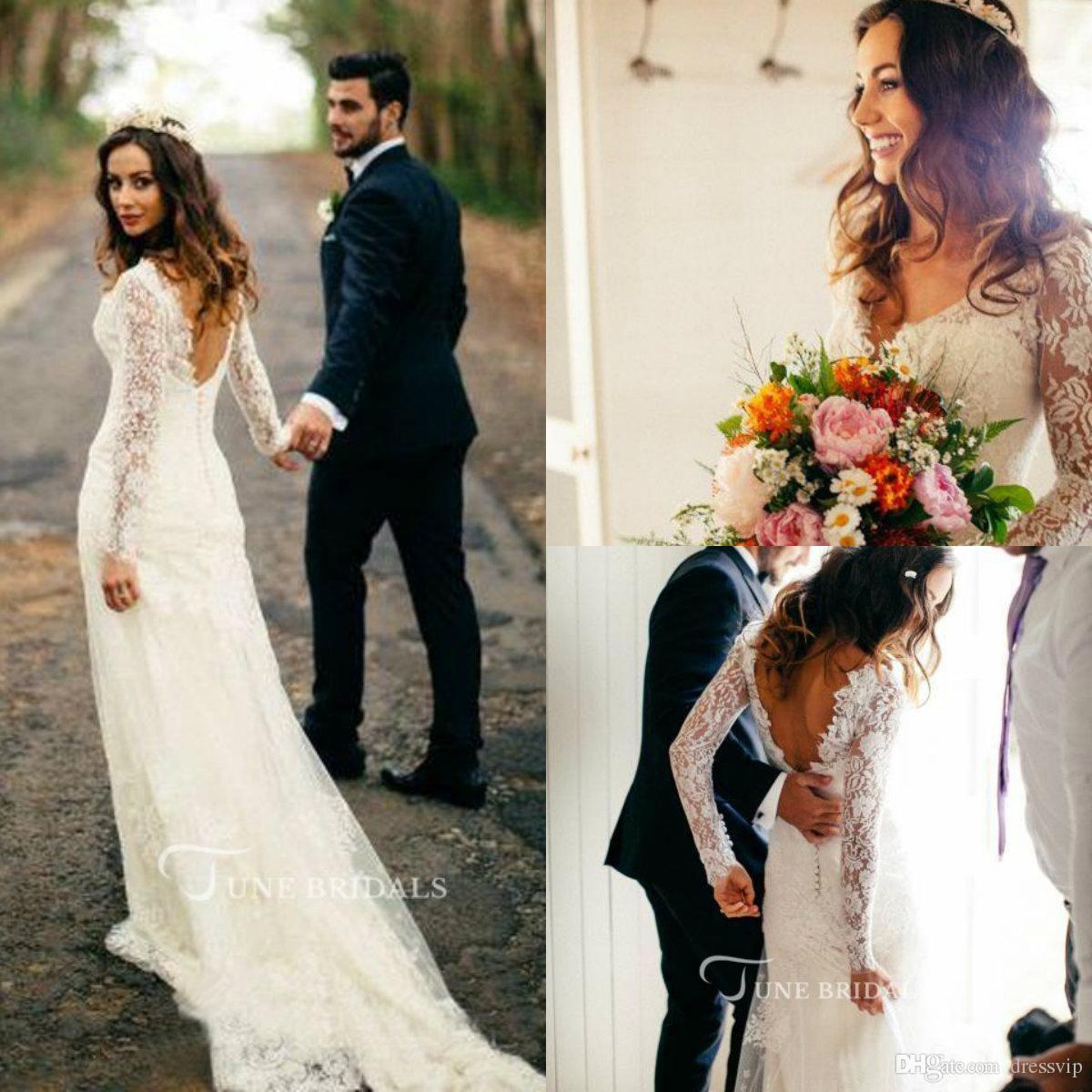16dcf766e774 Discount Cheap 2018 Simple Bohemian Beach Wedding Dresses Country Long  Sleeves Sweep Train Summer Boho Hippie Western Bridal Gowns Wedding Dresses  Big ...