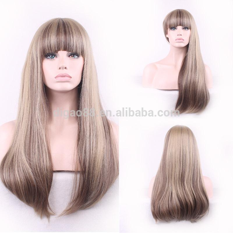 Women S Hair Wig Human Hair Synthetic Long Straight Blonde Brown Mixed Hair  Wig Synthetic Hair Wigs Best Synthetic Wigs From Chinabaobei 71c1a74279