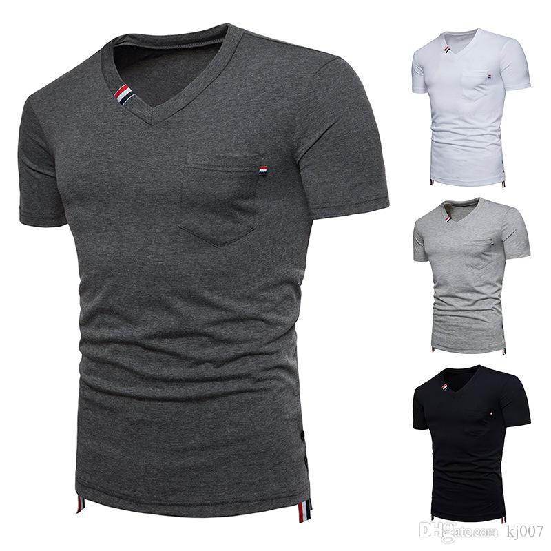 ec28ec0f2 T Shirts Summer Mens Shorts Sale Solid Color Short Sleeve New Tee Shirt V  Neck Fashion T Shirts Casual Shirt Clothes Man Pocket Top Tees Create Your  Own T ...
