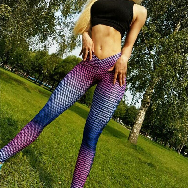 2019 Women S Colorful Printed Compression Running Tights Yoga Workout Pants  Sports Gym Slim Fitness Trousers Athletic Clothes Fitness From Stem a3d6fef424a5