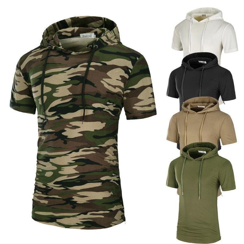 4374b57bede Men S Summer Turtleneck T Shirt Street Fashion Short Sleeved Camouflage Mid  Long Print Bottom Shirt Leisure Sports Top Skull T Shirts Tea Shirt From ...