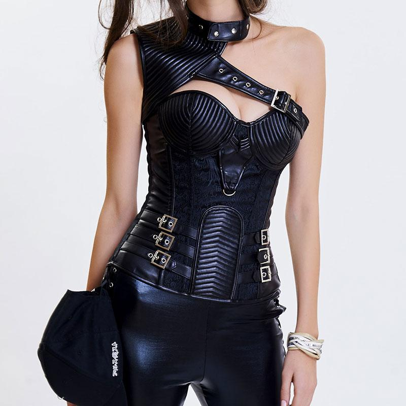 2019 Black Brocade   Leather Armor Steel Boned Gothic Corset Steampunk  Clothing Corsets And Bustiers Burlesque Korsett For Women Sexy From Hoto d5129968fa66