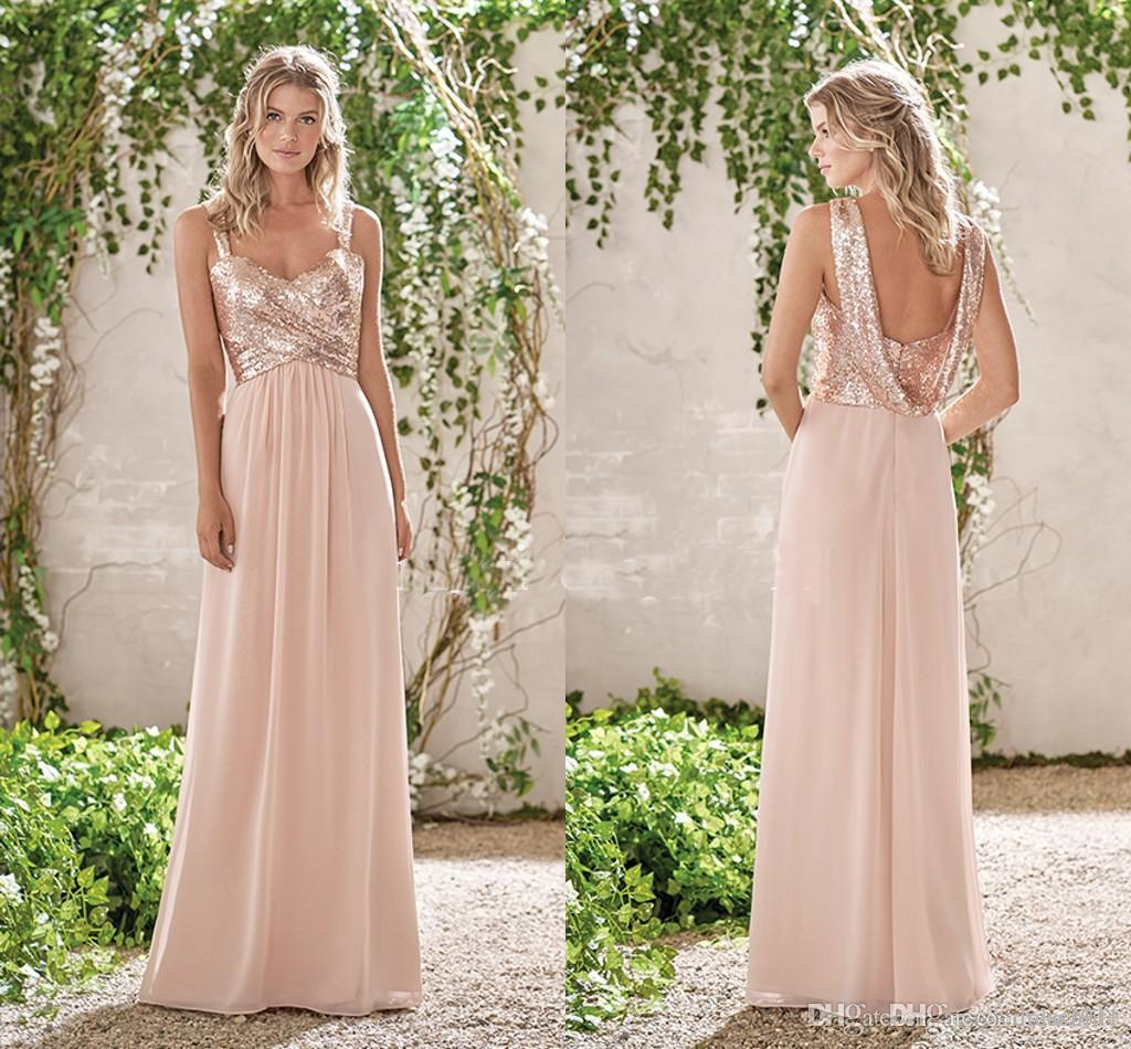 5452814f27 ... Jasmine Cheap Bridesmaid Dresses Rose Gold Sequins On Top Chiffon Skirt  Sleeveless A Line Sweetheart Junior Bridesmaid Dresses Chiffon Bridesmaid  Dress ...