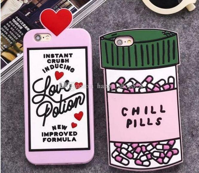 3D Love Potion phone case 3D Chill Pills Bottle Soft Silicone Cover Case For iPhone 6s Plus 6 Plus 7 7plus 3D Soft Cell Phone Case