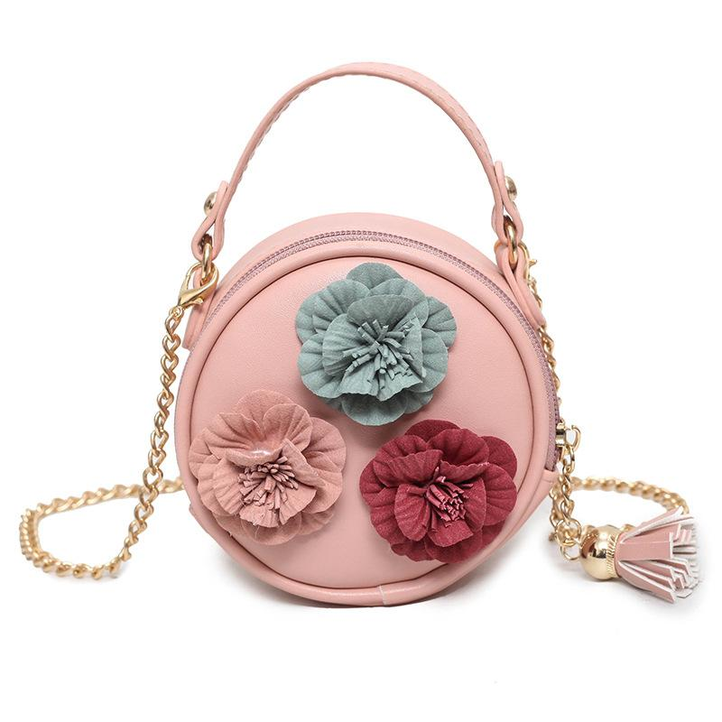 PU Leather Chains Tassel Floral Children School Round Bags Kids Messenger  Travel Phone Poches Money Bags Carteira For Girs Kid Backpacks For School  ...