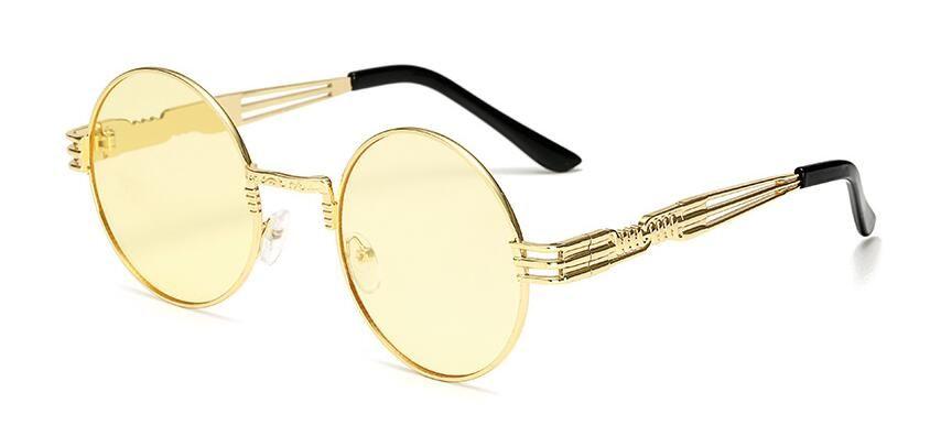 2018 gafas de sol de metal de lujo hombres gafas de sol redondas steampunk recubrimiento gafas retro vintage gafas de sol al aire libre 10 unids / lote
