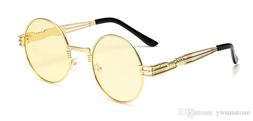 2018 Luxury Metal Sunglasses Men Round Sunglass Steampunk Coating Glasses Vintage Retro Outdoor Sunglasses