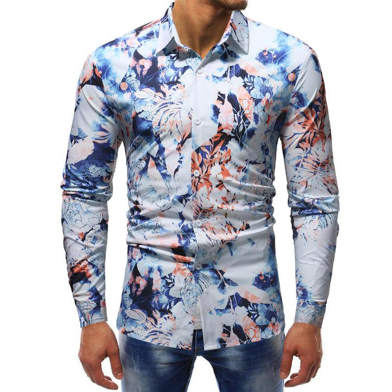a090eb5a7dca 2019 2018 New Fashion Casual Men Shirt Long Sleeve Europe Style Slim Fit  Shirt Men High Quality Cotton Floral Shirts Mens Clothes From Harrietai, ...