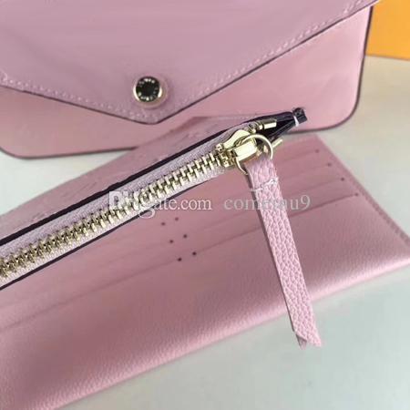 Kostenloser Versand Frauen Echtes Leder Woc Clutch Handtasche 64065 Marke Designer Set Pochette Tasche mit Box 61276
