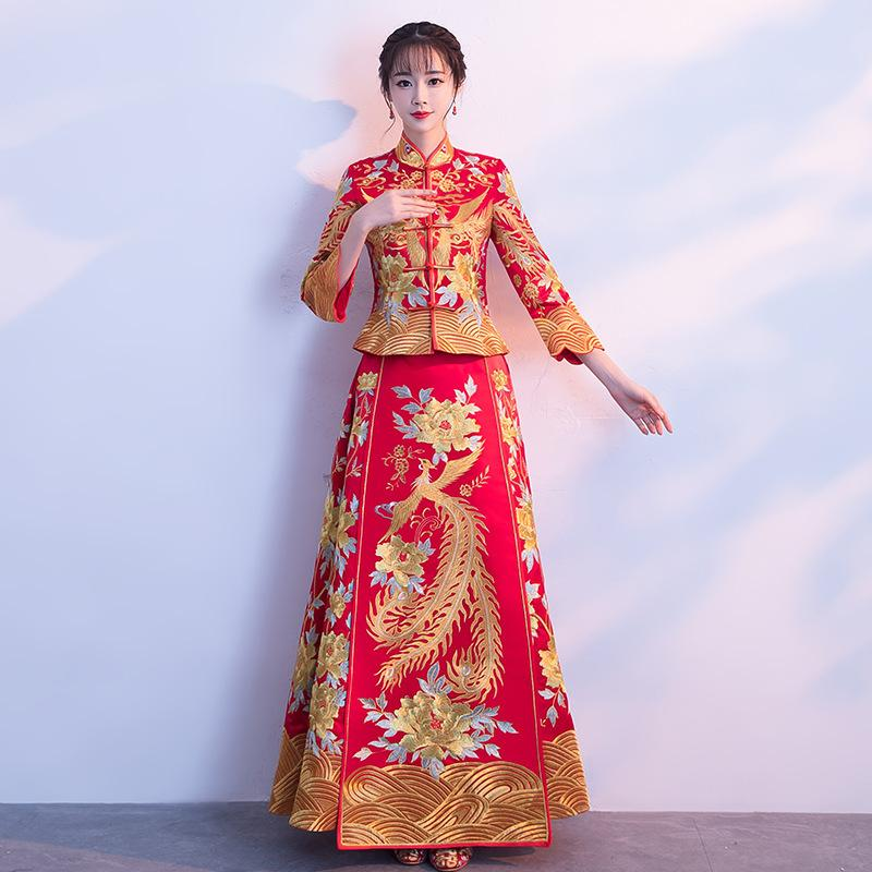 e69928743583c Red Bride Traditions 2018 Traditional Evening Gown Chinese Fashion Wedding  Dragon Phoenix Kimono Vintage Cheongsam Qipao Woman
