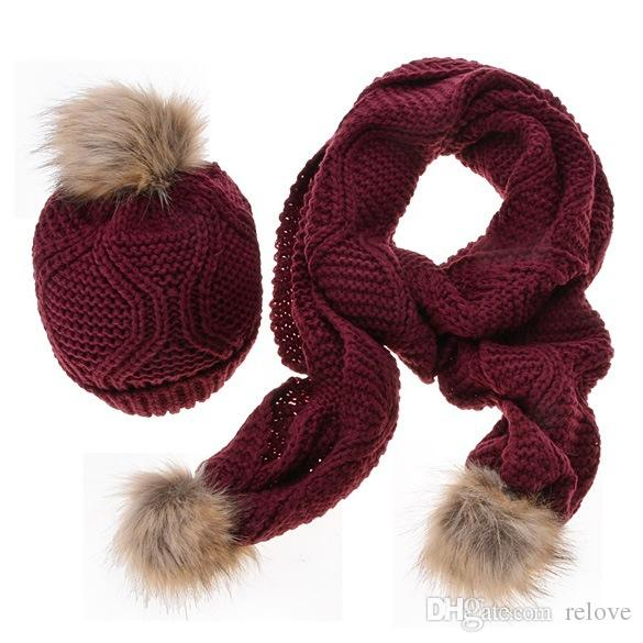 Fashion new autumn winter Rhombus wool scarves women thick warm wool knitted hat scarf two-piece suit