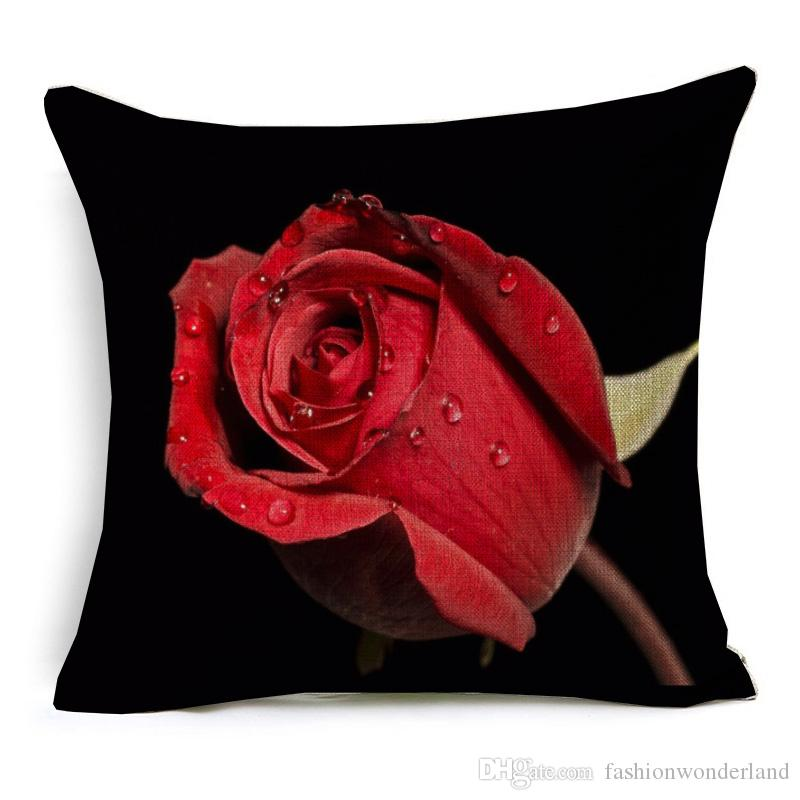 3D Effect Red Rose Cushion Cover Beautiful Fresh Roses Floral Pillow Covers Home Sofa Decorative Linen Pillow Case Bedroom Sofa Decor