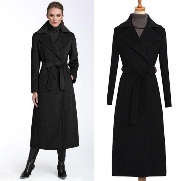 Mantel lang schwarz wolle