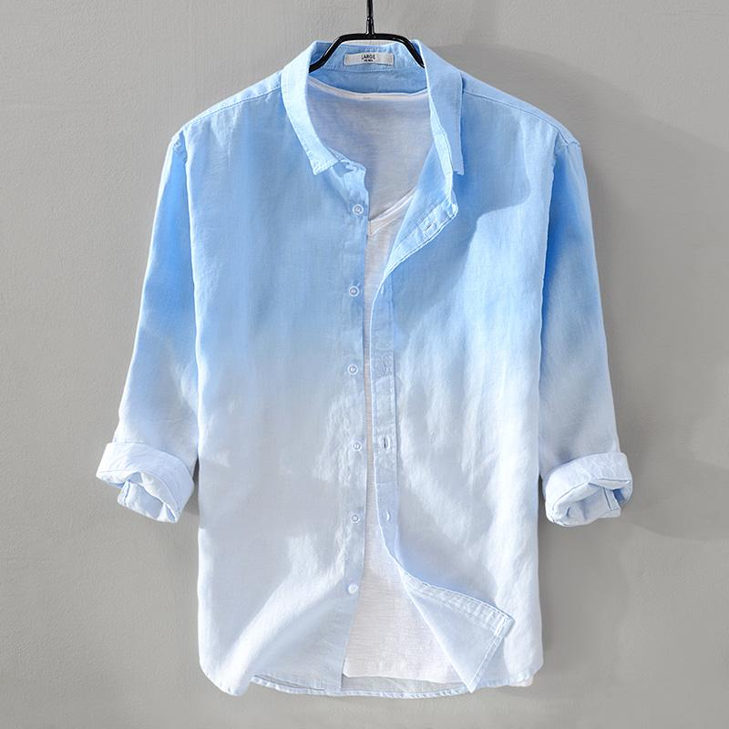 645fcecd62b 2019 2018 New Summer Men S Linen Shirt Men Brand Three Quarter Sleeve Shirt  Mens Gradient Blue Shirts Male Casual Camisa Dropshipping From Gingerliu