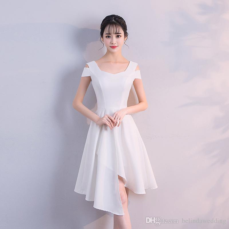 0f1e16ced9635 White Short Sexy hi-lo Homecoming Dresses Scoop Neck Cap Sleeves Knee  Length Cocktail Dresses High Low Prom Evenging Dress Gowns