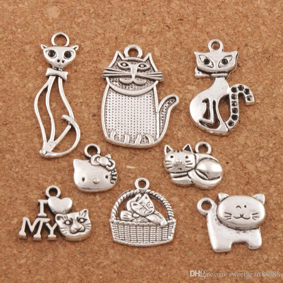 140pcs/lot Mix Cat Animal Charm Beads Antique Silver Pendants Hot Jewelry Findings DIY Components LM43 LZsilver