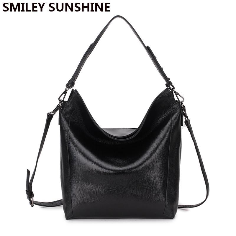 SMILEY SUNSHINE 100% Real Soft Genuine Leather Women Handbag Big Shoulder  Bag Female Black Crossbody Bags Ladies Hobos Bags 2018 Overnight Bags Bags  For ... 27120004a3e58