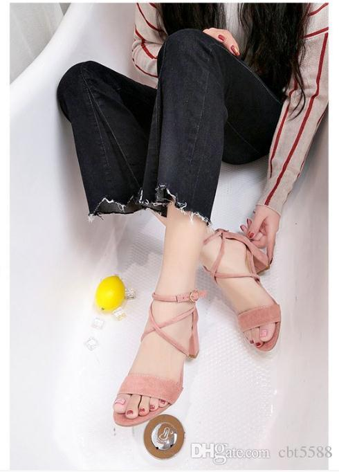 2018 summer new fish mouth open toe shoes Europe and the United States sexy sandals buckle with casual women's shoes