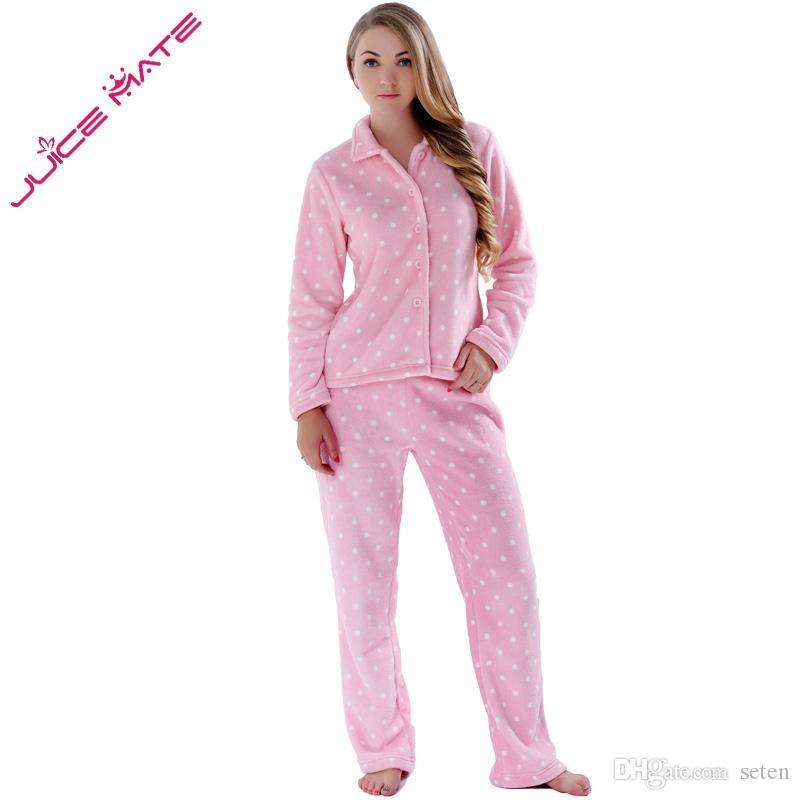 9afb3e01c98b3 Acheter Vente En Gros JUICE MATE Femmes Vêtements De Nuit Printemps Automne  Chaud Corail Polaire Plus La Taille Rose Pyjama Costume Vêtements De Nuit 2  ...