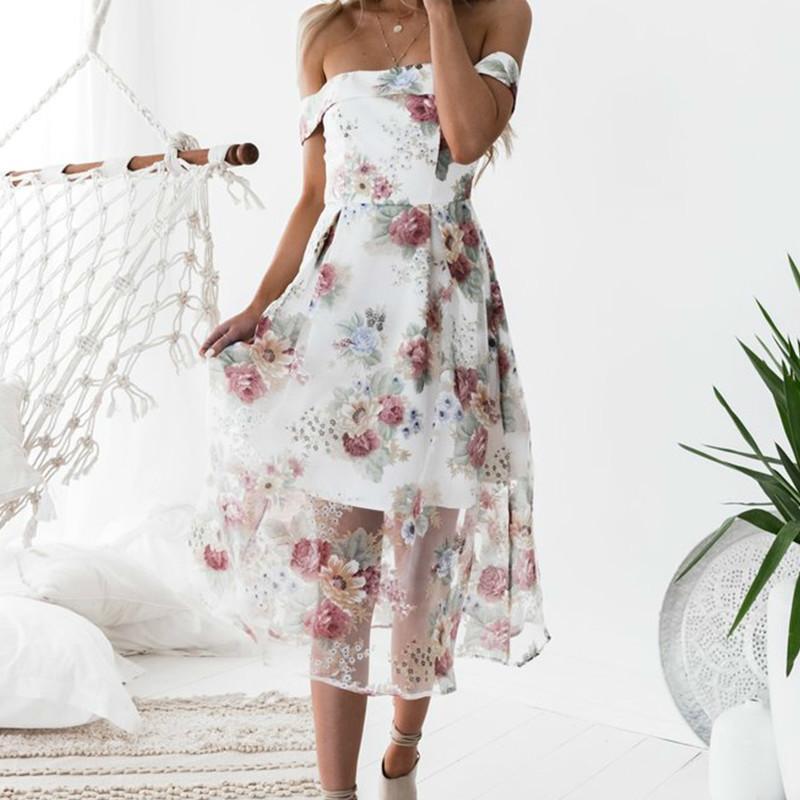 Ladies Off Shoulder Midi Dress Women S Summer Dresses Boho 2019 Sweet Girls  Beach Floral Printed Female Sundress Plus Size GV273 White Floral Summer  Dress ... 150605a8bd