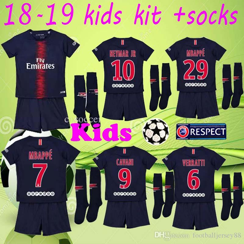 c07f4f4ba 2018 2019 Kits+sock NEYMAR JR Soccer Jersey 18 19 MBAPPE CAVANI ...
