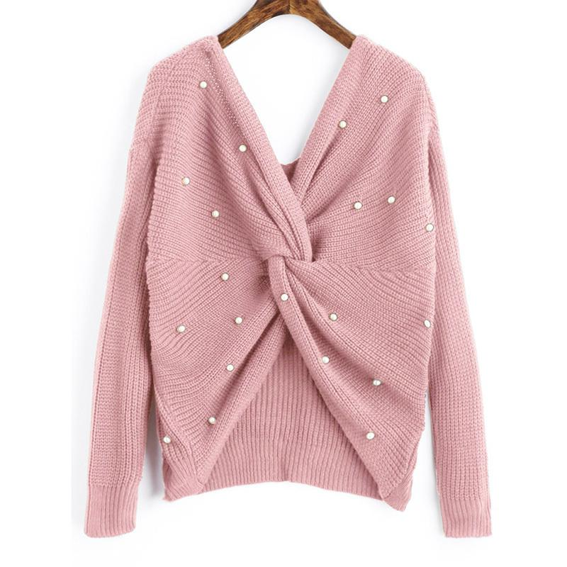 0e73c2749 Beading V Neck Twist Sweater Sweet Burgundy Women Pullovers Knit Jumper  Long Sleeve Casual Solid Sweater 2019 New Style