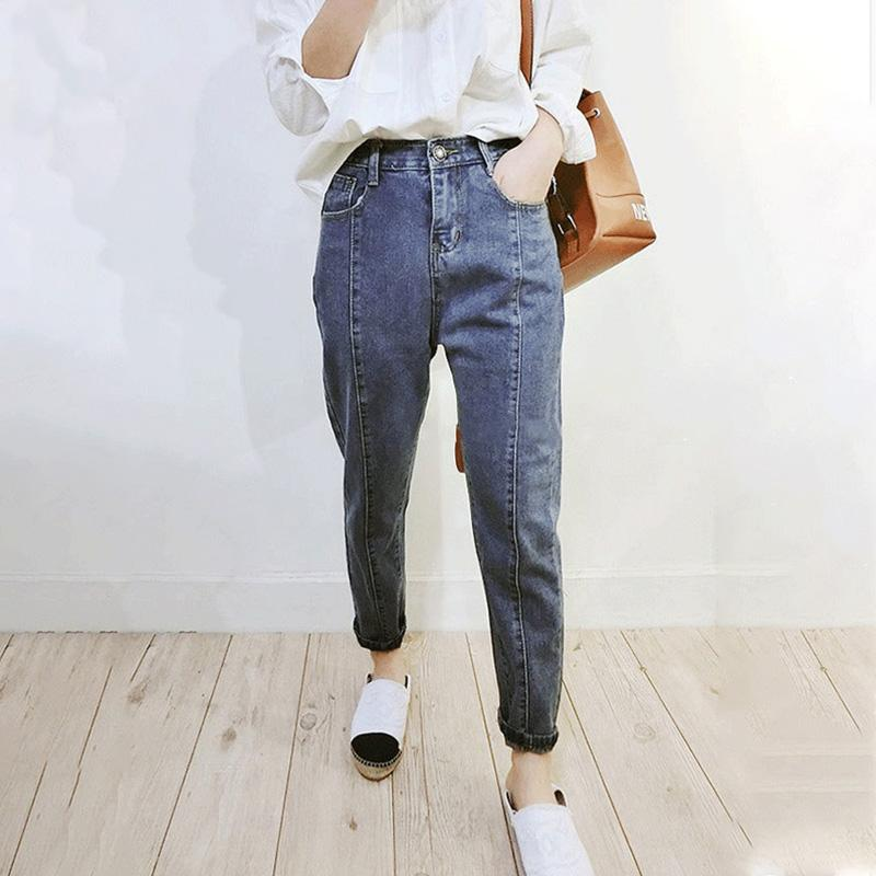 bbdf9869eb0 2019 Mom Jeans Plus Size High Waist Zipper Button Harem Pants Ladies Casual  Vintage Retro Cotton Full Length Women Denim Trousers 5xl From Liangcloth