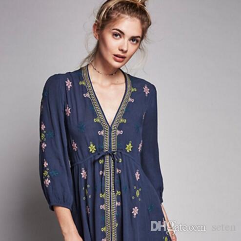 793ec088beb3 2019 Hippie Boho 2018 Summer Dress Floral Lovebird Print V Neck Mini Casual  Dress Women Bohemian Hippie Chic Vestidos Clothing AH207 From Seten