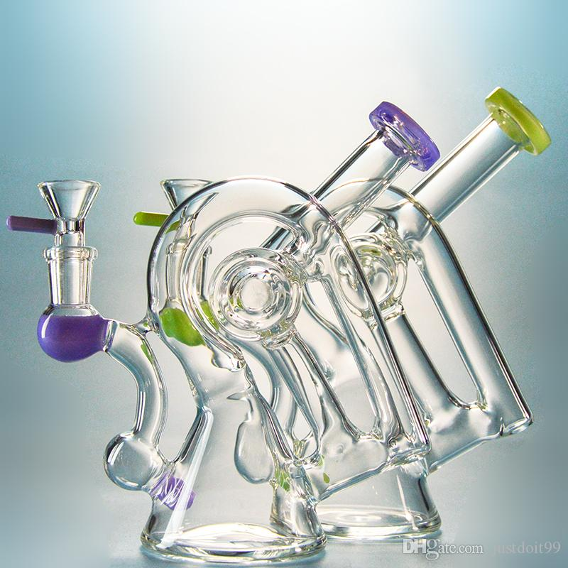 Heady Dab Rigs Beiwagen Ölbad Rigs Einzigartiges Design Bongs 14mm Female Joint Water Pipes XL260