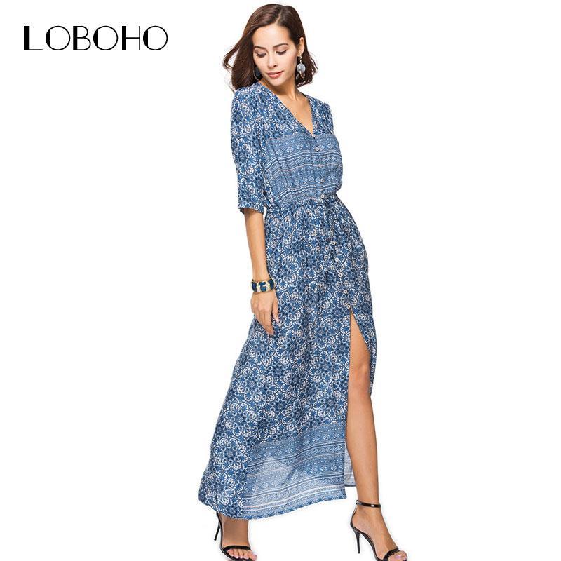 90ada0fcd9 2019 Casual Maxi Dress Summer 2018 New Arrival Half Sleeve Floral Print  Dress Open Slit V Neck Buttons Long Dresses Women Clothing From Harrvey