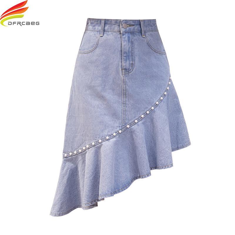 dd0527bc1 Jeans Skirt Women With Pearl Summer 2018 New Arrivals Korean Style Fashion  Asymmetrical Denim Skirts Ruffle Pockets saia jeans
