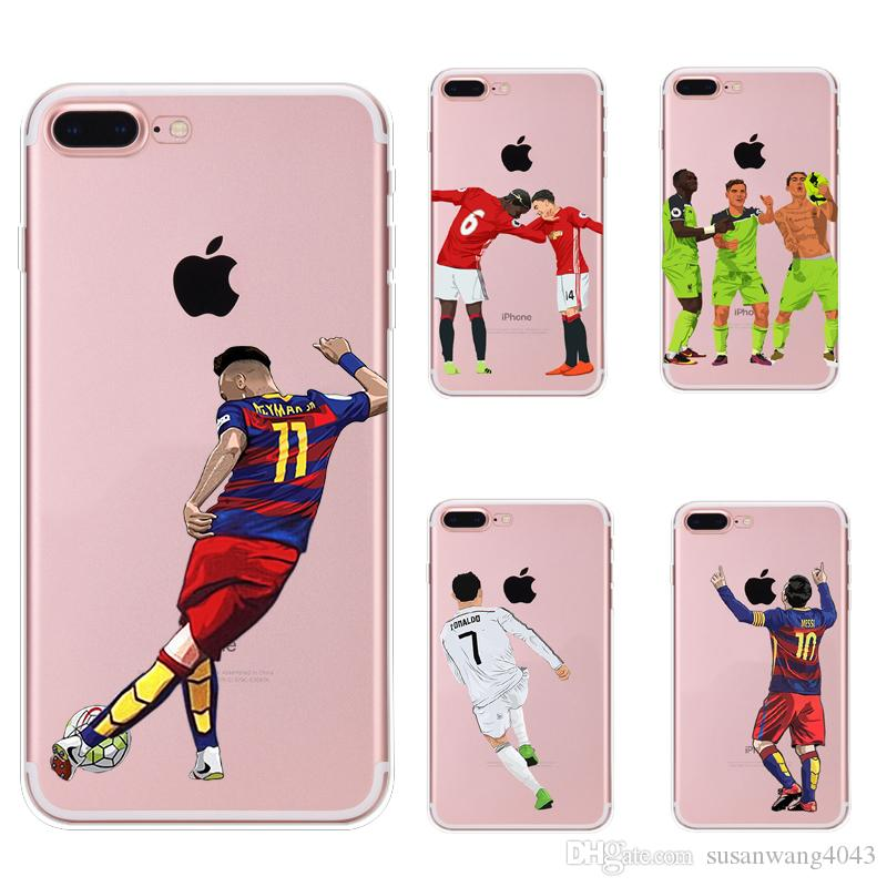 big sale 1ed2e fc558 Messi Ronaldo Soccer phone cases for iphone X XR XS Max 8 7 6s plus SE s7  S8 S9 soft TPU painting cover shell Football defender Skin GSZ398