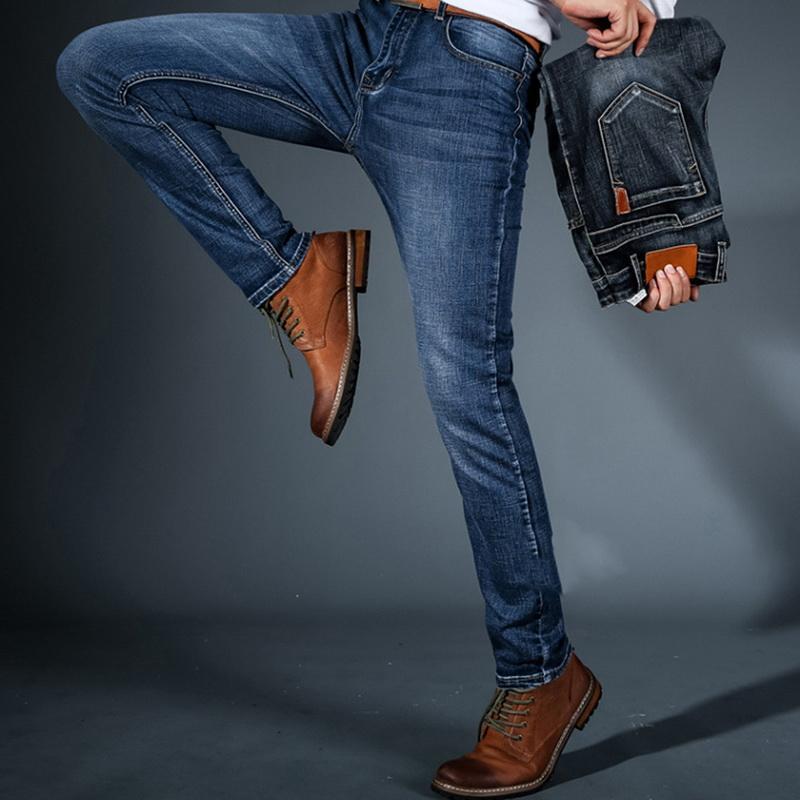 8d6ba34c3 Comercio al por mayor Hombre de negocios Otoño Invierno Pantalones de  mezclilla Pantalones clásicos Casual Stretch Slim Jeans 2018 Nuevos hombres  de ...