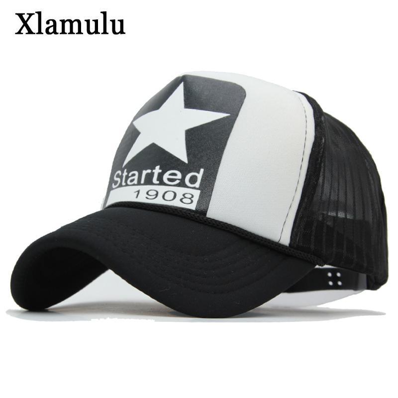 c82443b5 Xlamulu Summer Mesh Baseball Cap Snapback Hats For Men 5 Panels Caps ...