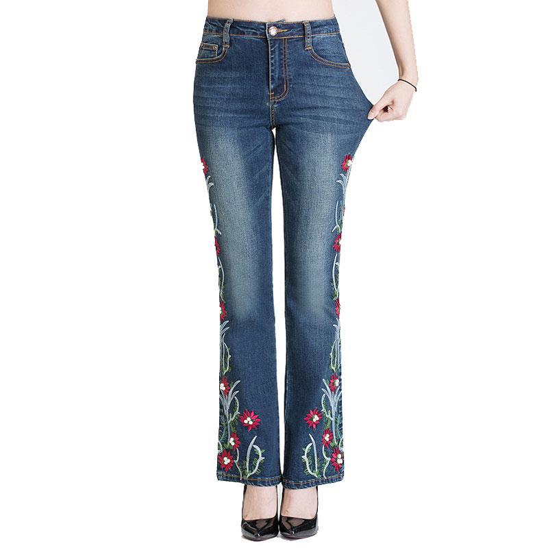 2c1719d747 Compre Pantalones Vaqueros De Las Mujeres De Cintura Alta Azul Manual  Bordados Bengalas Pantalones De Mano Granos Elasticidad Campana De  Estiramiento ...