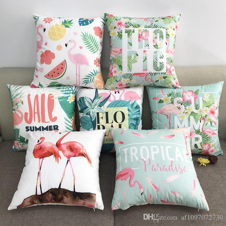 New Multicolor 6 Designs Pillowcase Hot Cotton Soft flannel Cartoon Flamingo Series Pillow Case Sofa Cushion Cover Car Lumbar Pillow Cover