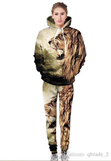 3D tête de lion impression numérique survêtements hommes pull à capuche kaki occasionnels hommes survêtements uniformes de baseball