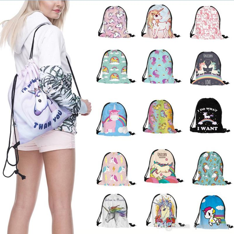 6c4d7391287c 18 Styles 3D Digital Printed Unicorn Drawstring Bag Cartoon Unicorn  Backpacks Travel Bags Beach Bags 38*30cm