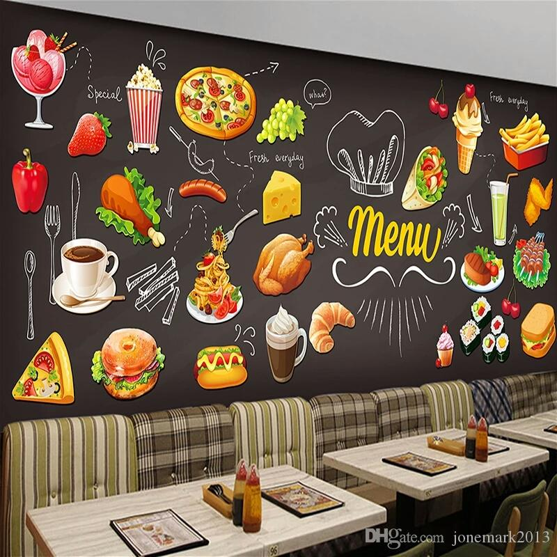 Blackboard Wallpaper Murals Food Wallpaper Murals Bistro: Personalized Blackboard Graffiti Food Mural Wallpaper Cake