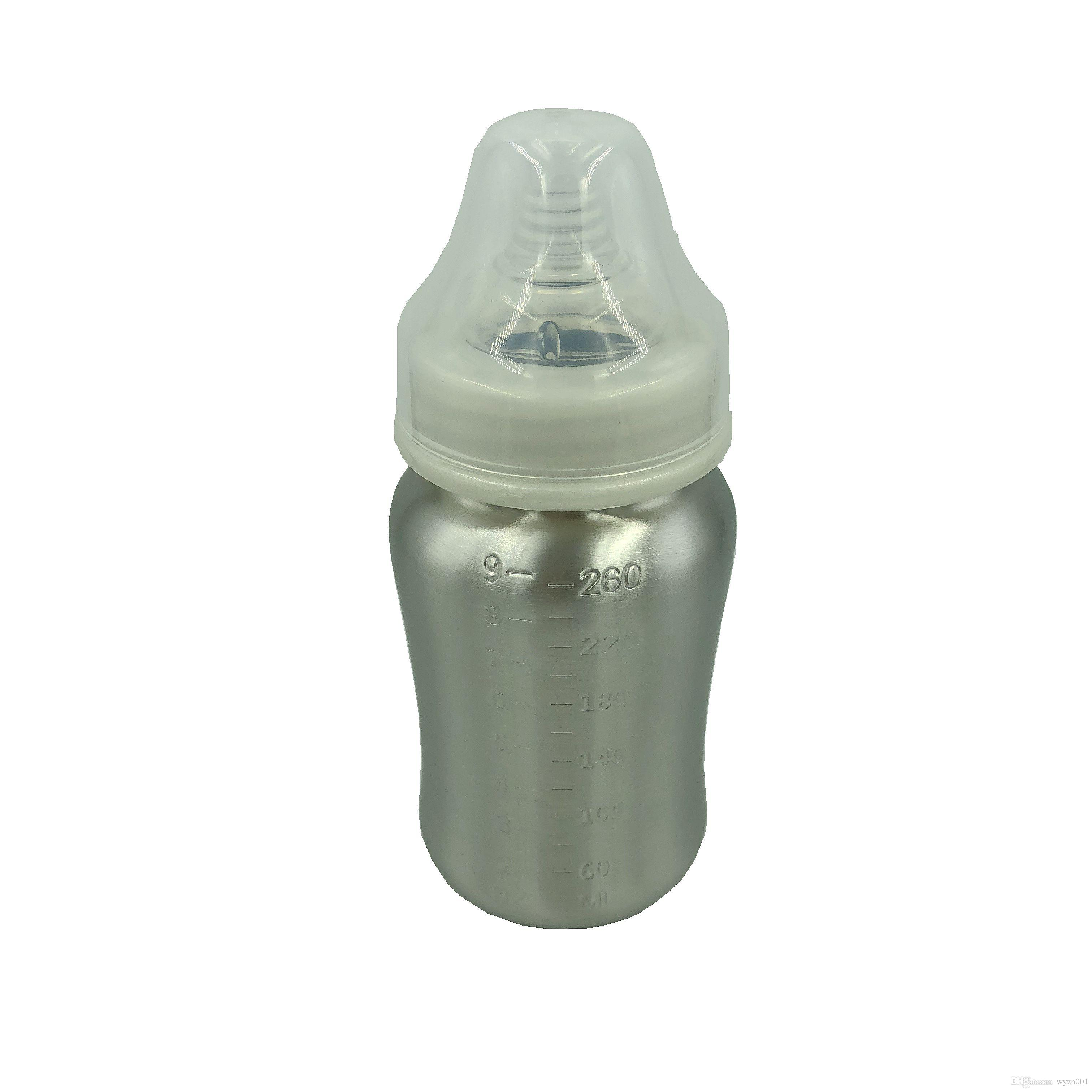 e9a783bc4 5OZ 9OZ Single Wall Stainless Steel Baby Feeding Bottle With ...