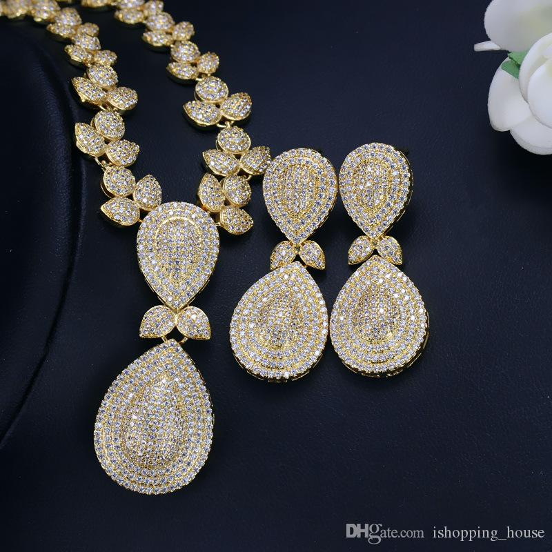 Super Luxury Women Party Jewelry Set Yellow Gold Plated Full Filled CZ Earrings Necklace Set for Women for Party/Wedding