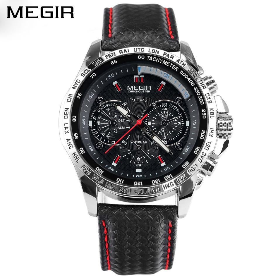 2b221323556 Compre Megir Relógios Casuais Dos Homens Casuais Relógio De Quartzo Relógio  Famoso Masculino Relógio De Pulso De Couro Preto Para O Sexo Masculino  Mg1010 ...