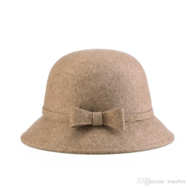 2019 Full Wool Felt Cloche Hat Woman Autumn Winter Bowknots Hats Vogue Bell  Shape Ladies Hat Professional Hat Wholesaler Nice Gift For Lady From  Winzfox 44cf7382850