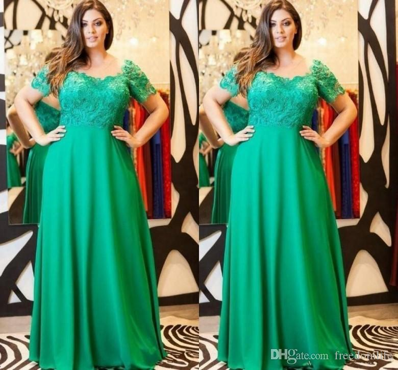2018 Elegant Emerald Green Evening Dresses Cap Sleeves Lace Formal Plus Size  Mother Of The Bride Dress Custom Made Party Gowns Mermaid Evening Dresses  Midi ... 02a0c0f27e39