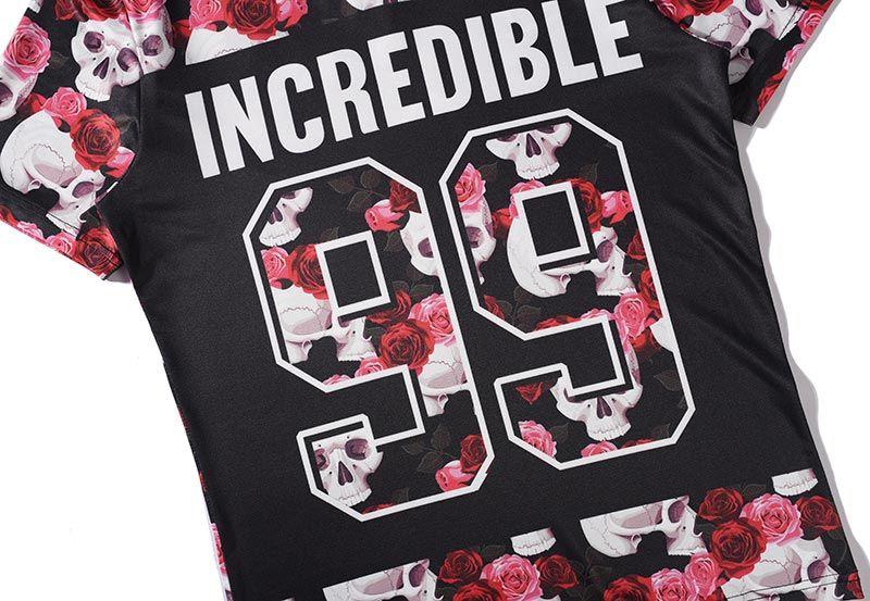 Roses T-shirt Men/Women Tshirt Summer Tops Tees 3d Tshirts Skulls Print Flowers V-neck Fashion Brand T shirt