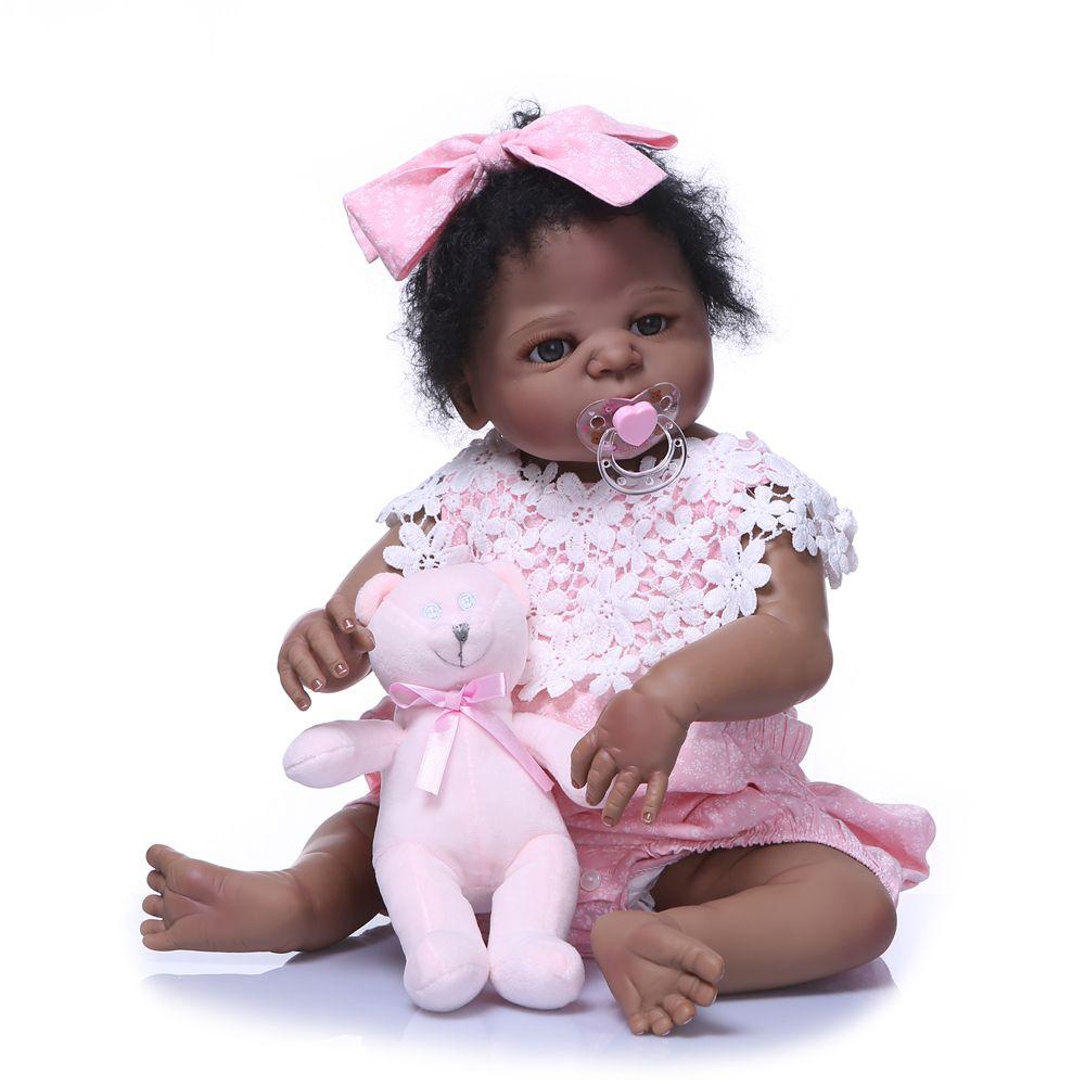 Compre 22 Pulgadas De Silicona Completa Reborn Baby Doll Negro Niña  Sillicone Muñeca Bebely Reborn Moda Baby Girl Para Kits De Regalo Juguete De  Navidad A ... b1232965d19c
