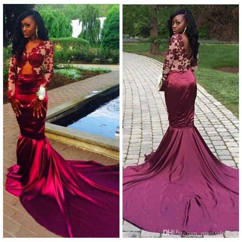 17b9ccfd7750 2018 Burgundy Long Sleeves Lace Mermaid Prom Dresses Sexy Backless Court  Train Sheer Evening Dresses Vestiods Formal Women Pageant Gowns Juniors Prom  ...